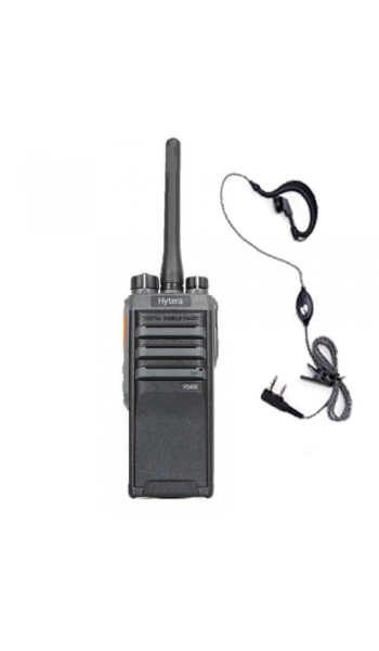 Hytera PD405 Digital Radio + D Shape Earpiece/Mic